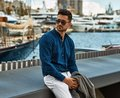 Handsome male model in fashionable clothes Royalty Free Stock Photo