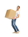 Handsome man with big box picture of Royalty Free Stock Photos