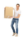 Handsome man with big box picture of Royalty Free Stock Photography