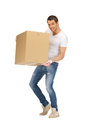 Handsome man with big box picture of Stock Image