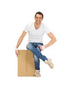 Handsome man with big box picture of Royalty Free Stock Image