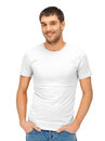 Handsome man in blank white shirt clothing design and hapy people concept Stock Photos