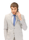 Handsome man with cell phone picture of Royalty Free Stock Photography