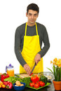 Handsome man cooking Royalty Free Stock Image