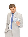 Handsome man with euro cash money picture of Stock Photography