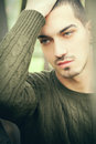 Handsome man green eyes and short hair Royalty Free Stock Photo