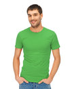 Handsome man in green shirt Royalty Free Stock Images