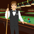 Handsome man holding cue stick