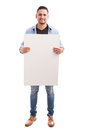 Handsome man holding a sign Royalty Free Stock Photo