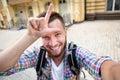 Handsome man making selfies Royalty Free Stock Photo