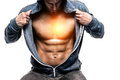 Handsome man with open jacket revealing muscular chest and abs Royalty Free Stock Photo