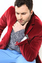 Handsome man posing red jacket Royalty Free Stock Image