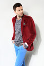 Handsome man posing red jacket Royalty Free Stock Photo