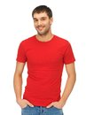 Handsome man in red shirt bright picture of Royalty Free Stock Images