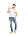 Handsome man showing ok sign bright picture of Royalty Free Stock Photo