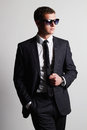 Handsome Man in suit.young businessman in sunglasses Royalty Free Stock Photo