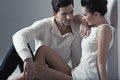 Handsome man touching soft skin of woman men brunette Stock Photos
