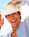 Handsome man wearing a hat Stock Image
