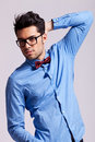 Handsome man wearing sunglasses and a bow tie Stock Photos