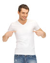 Handsome man in white shirt bright picture of Royalty Free Stock Image