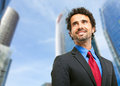 Handsome manager portrait outdoor in the city Stock Photography