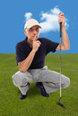 Handsome mature male golfer thinking Royalty Free Stock Photo
