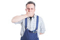 Handsome mechanic in the speak no evil pose Royalty Free Stock Photo
