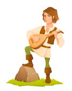 Handsome medieval bard with a lute Royalty Free Stock Photo