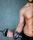 Handsome muscular male model doing exercise for biceps with dumbbells Royalty Free Stock Photos