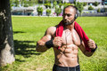 Handsome Muscular Shirtless Hunk Man Outdoor in City Setting Royalty Free Stock Photo