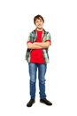 Handsome nice boy standing isolated on white Royalty Free Stock Photo