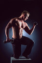 Handsome power athletic man in training pumping up muscles with dumbbells. Fitness muscular bodybuilder lifting dumbbell Royalty Free Stock Photo