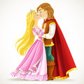 Handsome prince kisses the princess isolated on white background Royalty Free Stock Photos