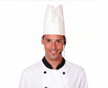 Handsome professional chef guy with headphones Royalty Free Stock Photo