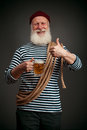 Handsome sailor isolated. Seaman with beer Royalty Free Stock Photo