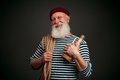 Handsome sailor isolated seaman on black background Royalty Free Stock Photography