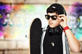Handsome skateboarder portrait Royalty Free Stock Photo