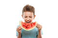 Handsome smiling child boy holding red watermelon fruit slice Royalty Free Stock Photo