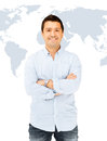 Handsome smiling man business and communication concept in casual shirt Royalty Free Stock Photo