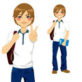 Handsome student teen boy making victory sign ready to go back to school Royalty Free Stock Photos