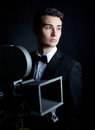 Handsome stylish man portrait of in elegant black suit Stock Photography