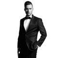 Handsome stylish man portrait of in elegant black suit Stock Photos