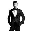 Handsome stylish man portrait of in elegant black suit Royalty Free Stock Photography