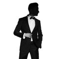 Handsome stylish man portrait of in elegant black suit Stock Image