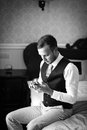 Handsome successful confident man in a posh classic room stylish Royalty Free Stock Images