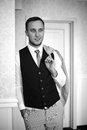 Handsome successful confident man in a posh classic room stylish Stock Images