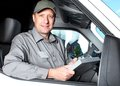 Handsome truck driver. Royalty Free Stock Photo
