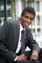 Handsome young african american businessman smiling portrait of a Royalty Free Stock Image