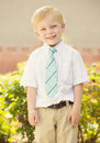 Handsome young boy portrait a standing wearing a shirt and tie Stock Photos