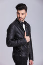Handsome young business man wearing a leather jacket Royalty Free Stock Photo